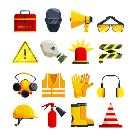 Protection clothing for work and safety equipment. Protective equipment and safety mask glasses, vector illustration