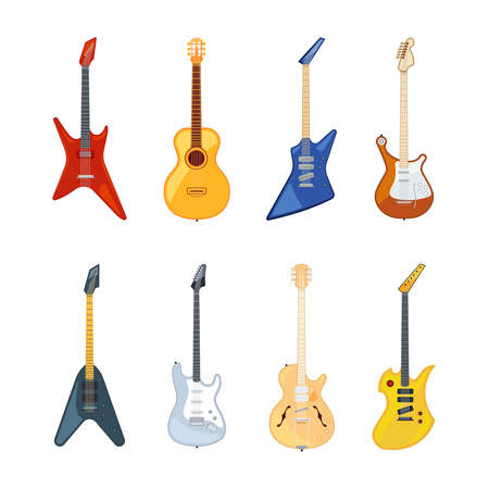 Acoustic and rock guitar. Vector illustrations in flat style. Guitar instrument for rock music or jazz collection