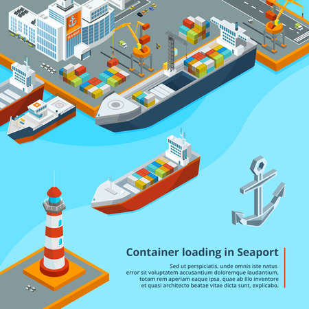 Dry cargo ship with containers. Maritime industrial work. Isometric illustrations. Ship transport in sea port, isometric cargo transportation Ilustración de vector