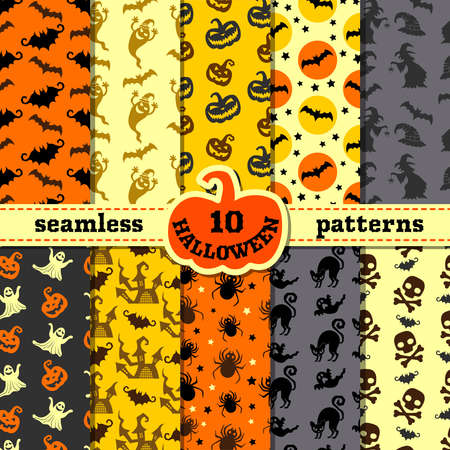 Halloween party decorations. Big seamless patterns set. Backgrounds with pumpkin and black cat, witch and bat