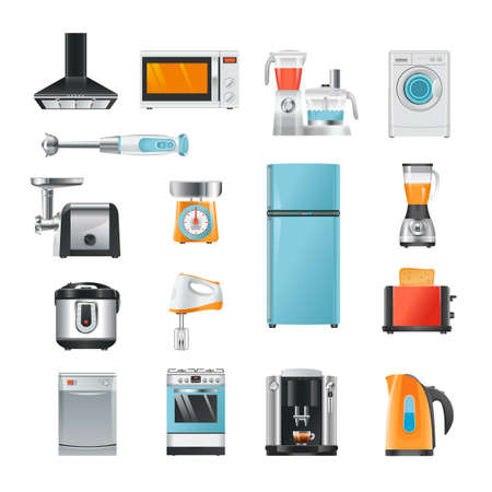 Different household in cartoon style. Electrical equipment for kitchen refrigerator and microwave, electronic mixer and blender, vector illustration