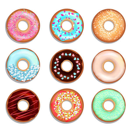 Donuts with cream and chocolate. Vector illustrations of sweets. Donut food chocolate, sweet delicious bakery
