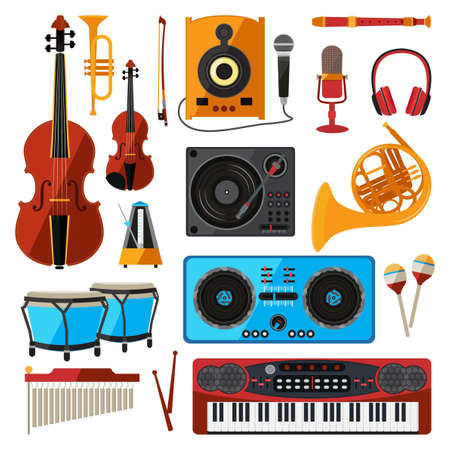 Musical instrument isolate on white. Music equipment for sound studio or shop. Guitars, digital players, bas amplifier and others. Guitar and equipment sound, musical instrument vector illustration