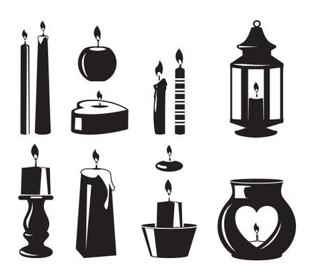 Monochrome vector symbols of candles for birthday party. Candle christmas and birthday, wax and wick silhouette illustration Ilustración de vector