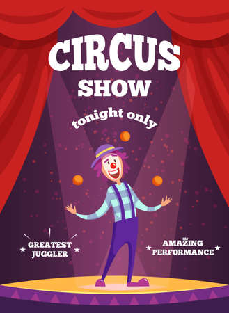 Invitation poster for circus show or magicians performance. Illustration of clown juggle on the scene. Clown performance in circus show, juggler and performer vector Vektorové ilustrace