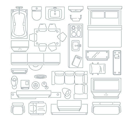 Top view of different furniture set for layout of the apartment. Vector mono line pictures set. Linear apartment house plan, bedroom and kitchen illustration Vektoros illusztráció