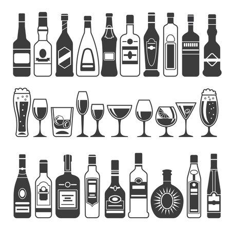 Monochrome illustrations of black pictures of alcoholic bottles. Vector for label design. Alcohol bottle menu, drink cocktail glass