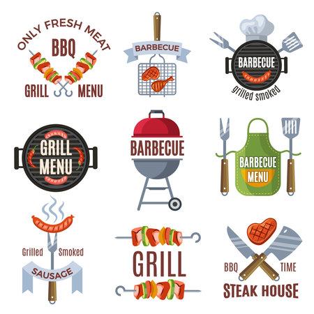 Colored labels set for bbq party. Grilled food barbecue steak, bbq menu sign, vector illustration Vetores