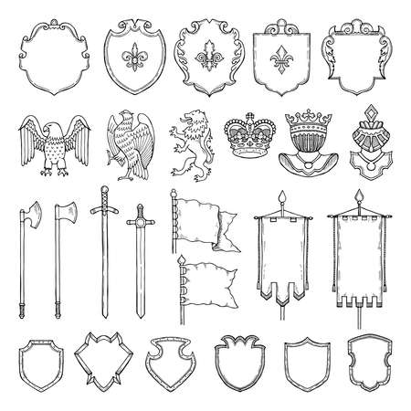 Medieval heraldic symbols isolate on white. Vector hand drawn illustrations. Medieval emblem royal crown and ancient sword Vetores