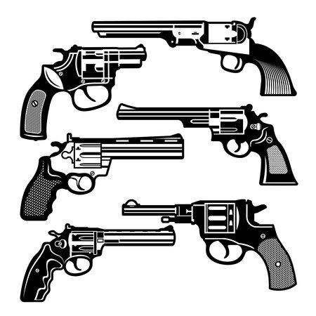 Monochrome illustrations of retro weapons. Revolvers vintage guns. Vector pictures set. Revolver gun and weapon monochrome black, pistol classic cowboy