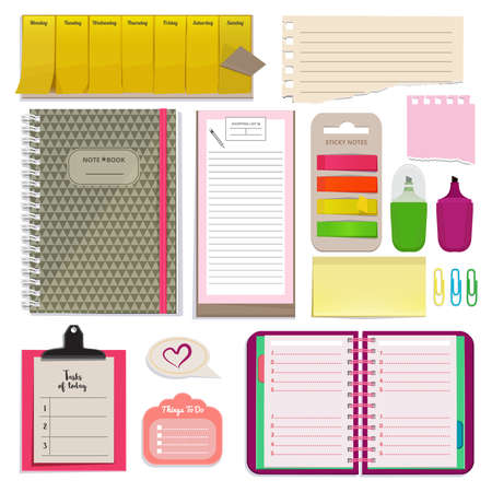 Different notebooks, notes, daily agendas and papers for organizer. Planner pad and organizer notebook. Vector page for note daily and schedule planner illustration Ilustração Vetorial
