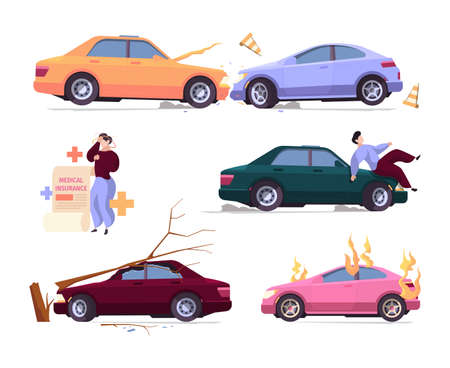 Car accident insurance. Damaged vehicles crushes automobile robbery problems fire flame from car garish vector cartoon illustrations collection. Vehicle insurance, emergency accident car