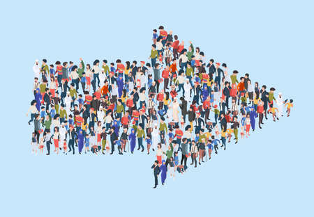 Crowd arrow. Success people walking in direction arrow shapes large growing group of persons garish vector marketing concept isometric illustration. Crowd direction, people follow to arrow Ilustración de vector