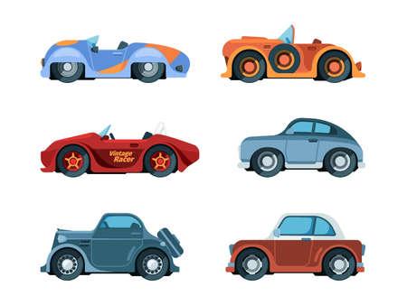 Retro cars. Old style vehicles urban transportation wheels driving car garish vector vintage collection in flat style. Car retro, classic old vintage vehicle illustration