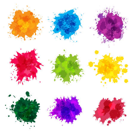 Paint splashes. Colored backdrop abstract splatter graphics ink yellow blue green magenta recent vector collection splashes template. Splatter green and blue splash, stain artistic dirty illustration