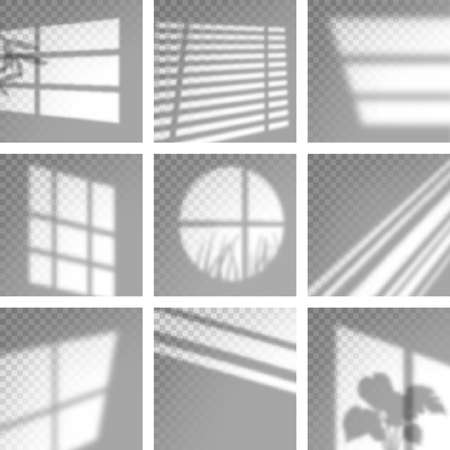 Long shadows from window. Monochrome overlay natural shades and light decoration decent vector templates. Illustration natural overlay, light effect blurred