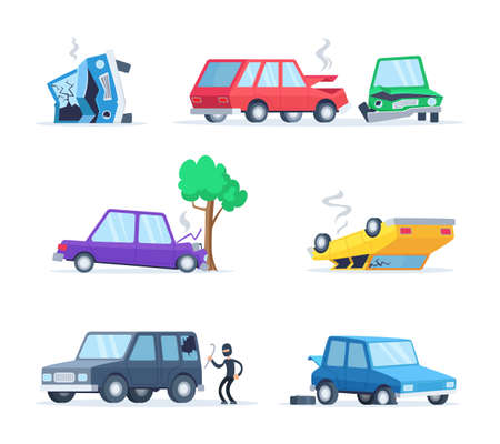 Vector pictures set of different accidents on the road. Big damage of cars. Illustration of vehicle accident, car crash Ilustracje wektorowe
