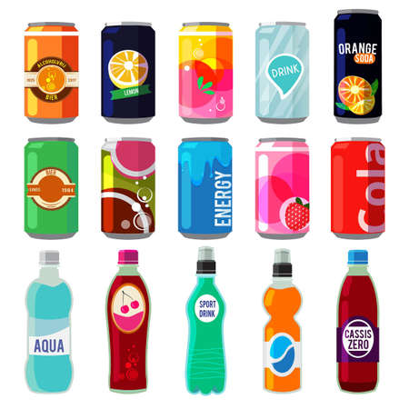 Illustration of different drinks in metallic cans and bottles. Vector pictures in retro style. Bottle aluminum with fresh energy beverage Ilustracje wektorowe