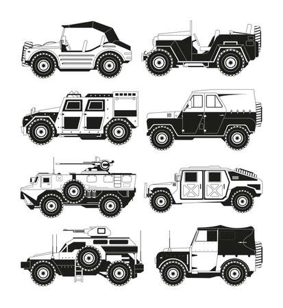Monochrome pictures of military vehicles. Illustrations of army. Vector vehicle military, transport for defense Vector Illustration