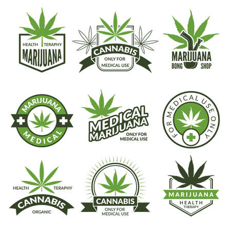 Medical badges or labels set. Monochrome illustrations of canabis and marijuana. Collection of marijuana and canabis medical emblems vector