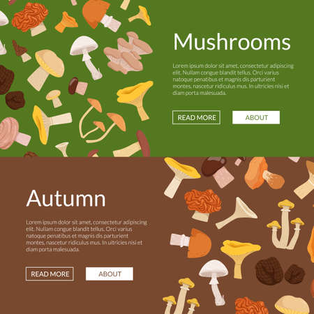 Vector horizontal web banners and poster illustration with cartoon mushrooms