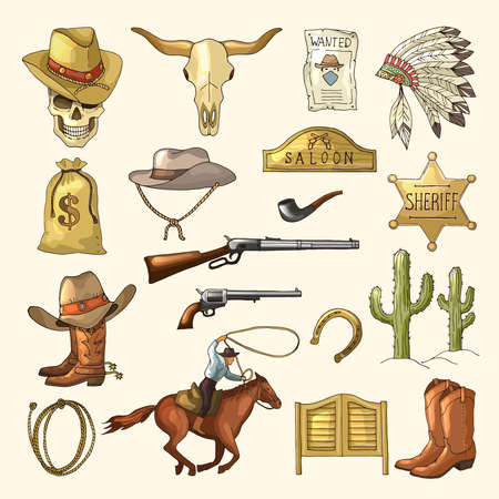 Colored illustrations of wild west symbols. Western vintage pictures isolated. Vector wild west and gun, weapon and horse