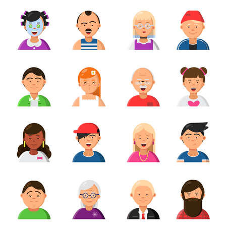 Funny cartoon faces. Avatars in flat style. Vector character cartoon face, people avatar portrait woman and man illustration