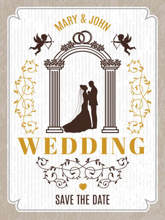 Retro poster or wedding card invitation. Vector design template with place for your text. Invitation vintage poster wedding illustration