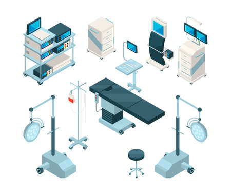 Isometric illustrations of medical equipment in operating room. Hospital pictures set. Medicine equipment for clinic and operating vector