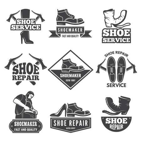 Vintage monochrome labels and logos for shoe repair workshop. Repair shoe emblem, badge shoemaker company. Vector illustration