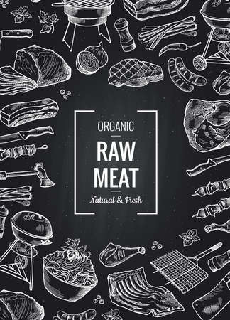 Vector hand drawn monochrome meat elements gathered toghether with place for text on black chalkboard illustration Vektorgrafik