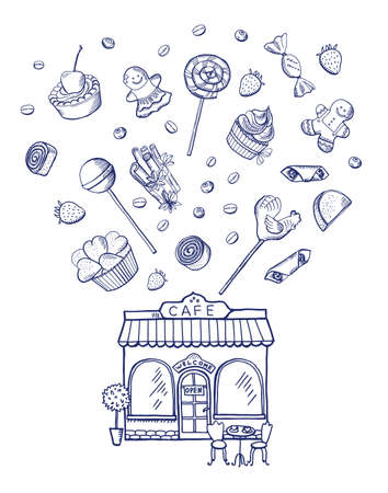 Vector hand drawn sweets spreading out of pastry shop building illustration