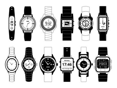 Mechanical and electronic sport hand watches in monochrome style. Vector pictures set isolate on white. Wristwatch digital electronic and mechanical, fashion and sport illustration Векторная Иллюстрация