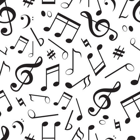 Seamless pattern with different music notes. Vector music pattern, melody and sound illuistration 向量圖像