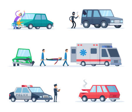 Accident on the road. Cars damage. Damage and crash automobile, police and destroy machine, vector illustration