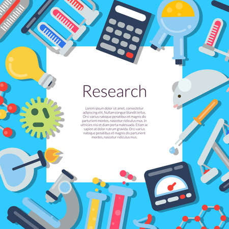 Vector flat style science icons background with white rectangle with place for text. Science and research medicine illustration