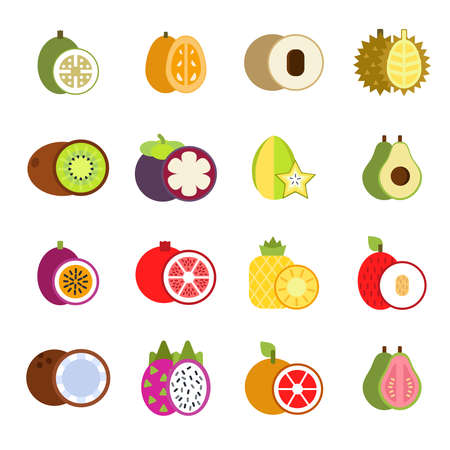 Guava, mango and others illustrations of tropical fruits in flat style. Tropical papaya and guava food, fresh fruit exotic vector Vektorgrafik