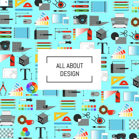 Vector digital art design icons background with place for text illustration