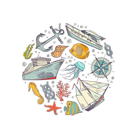 Vector colore sketched sea elements of set circle badge concept illustration