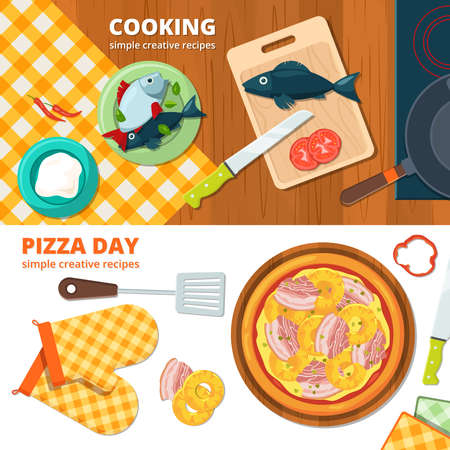 Horizontal banners with different illustrations of kitchen tools. Cooking pizza banner, delicious food on kitchen tablecloth vector