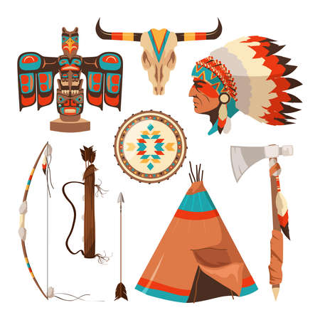 Vector symbols set of american indians. American native tribal, traditional tomahawk illustration
