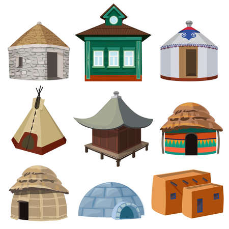 Traditional buildings and small houses of world different nations. Vector yurt and wigwam, tribal tepee and different shelter illustration Vecteurs
