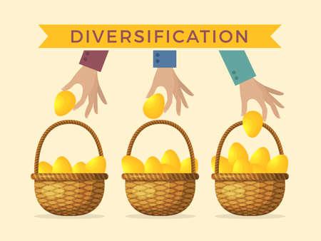Business concept illustrations of diversification. Golden eggs in different baskets. Vector diversification business, golden eggs in basket Ilustração Vetorial