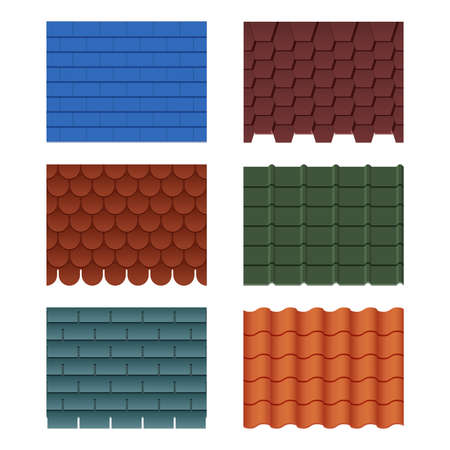Horizontal pattern of tiles for roofed house. Roof tile row for house construction, vector illustration