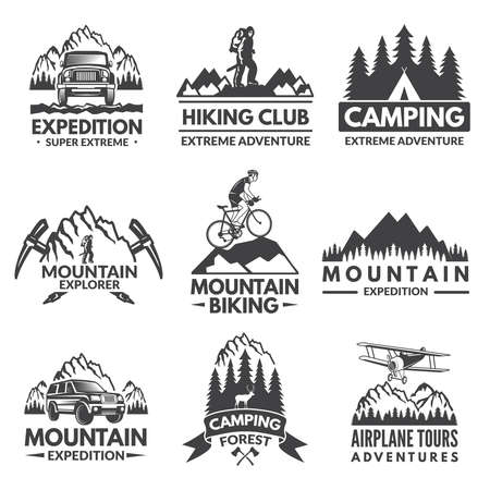 Explorer labels set. Travel pictures label and adventure emblem, biking and climbing, mountaineering and journey. Vector illustration