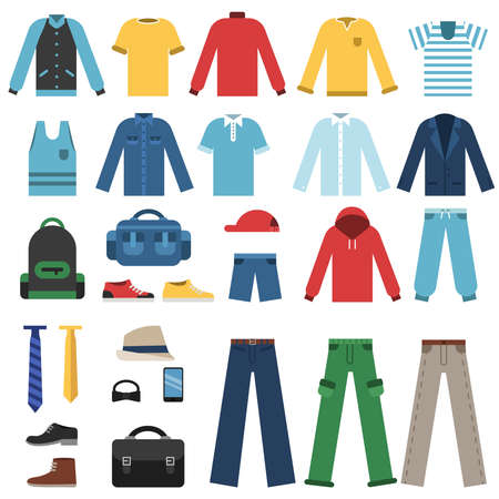 Different clothes for man isolate on white. Male wear, man clothing shirt and jacket, vector illustration