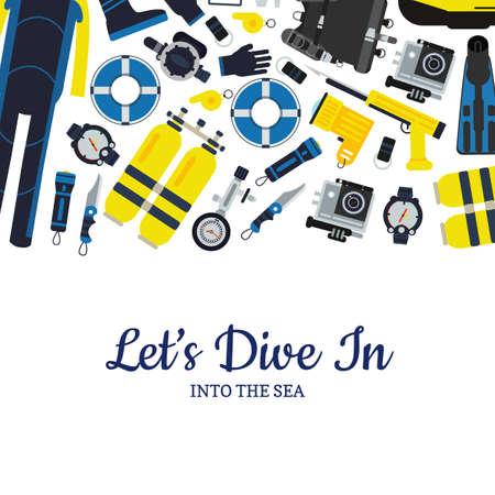 Vector underwater diving equipment banner poster illustration in flat style