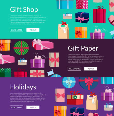 Vector horizontal banners with a lot of gift boxes or packages illustration