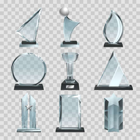 Glossy transparent trophies, awards and winner cups. Vector illustration. Achievement glass for winner championship, acrylic trophy sport Ilustración de vector