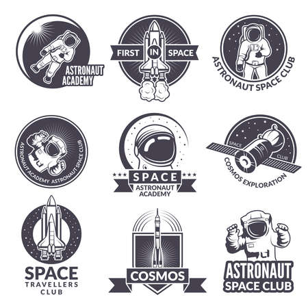 Emblems, labels or logos of space theme with illustrations of space and astronauts. Rocket and astronaut travel logo vector